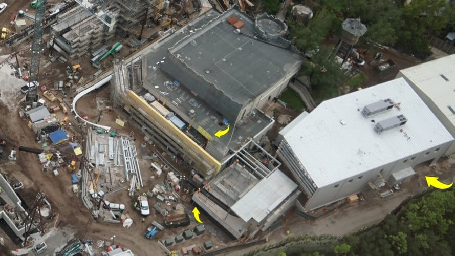 Queue, attraction entrance, and maintenance building for new coaster
