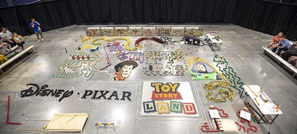 Disney builds 32,000-piece domino maze to celebrate Toy Story Land
