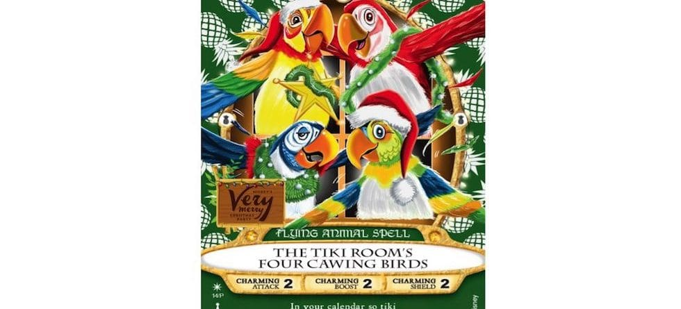This year's Sorcerers of the Magic Kingdom Christmas Party card to feature Enchanted Tiki Room