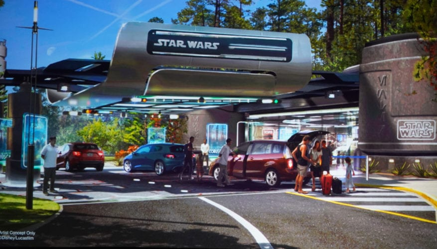 a look at concept art of the entrance to the star wars themed hotel