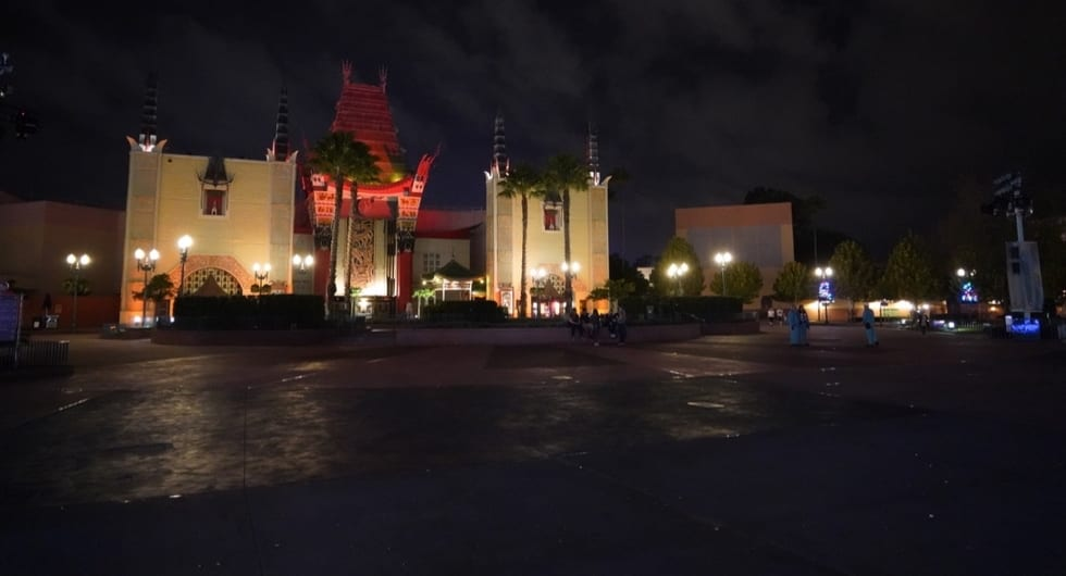 empty Disney's Hollywood Studios at night