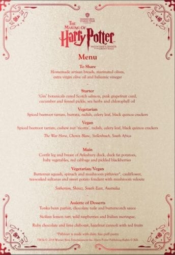 Harry Potter Great Hall Valentine's Dinner menu