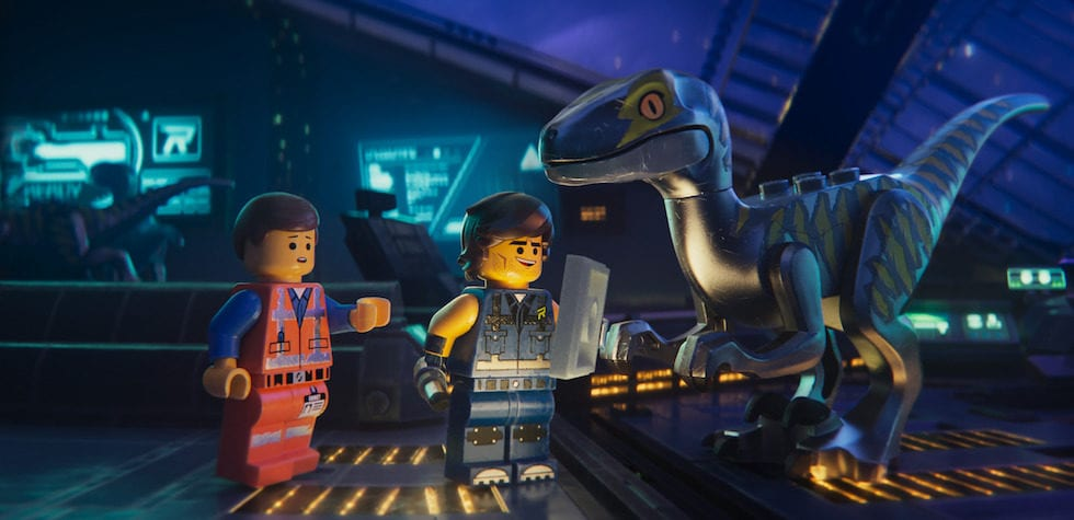 Emmit with Rex and his raptors in The Lego Movie 2 - The Second Part