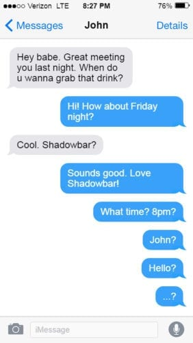 San Francisco Dungeon ghosted text message