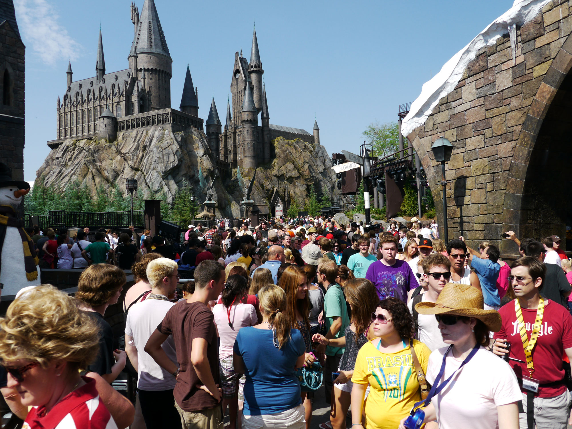 Universal Orlando's Hogsmeade at maximum capacity.