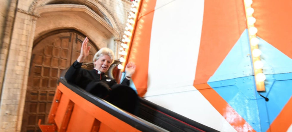 Cathedral installs 50-foot-tall slide to give parishioners a new perspective