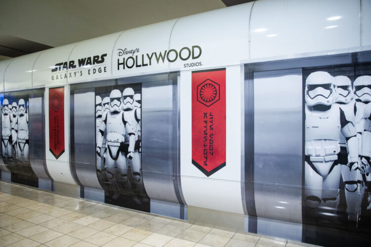 Star Wars Galaxy's Edge First Order Stormtroopers Orlando International Airport shuttle wrap installation