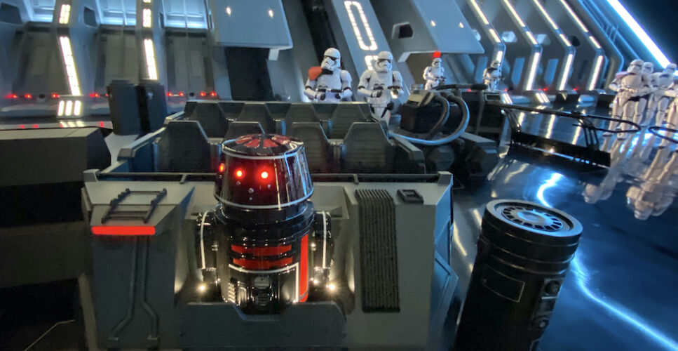 Star Wars Rise of the Resistance ride vehicle and stormtroopers