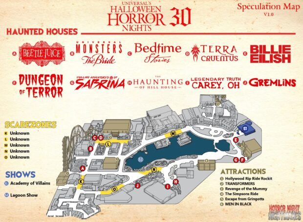 Halloween Horror Nights 2020 All Houses The Rumor Queue: Halloween Horror Nights 30 houses at Universal