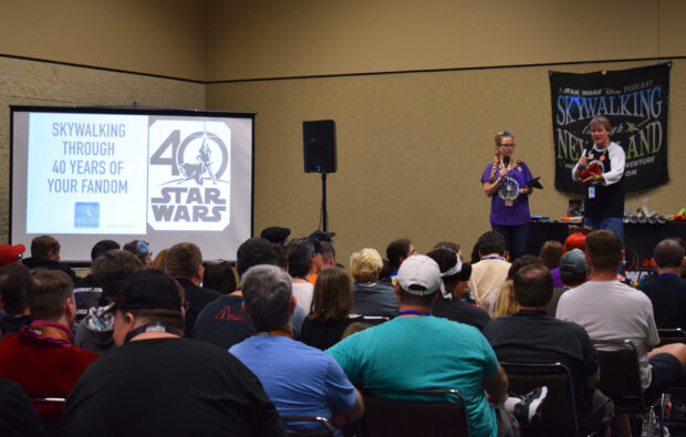 Sarah and Richard Woloski present on the podcast stage of Star Wars Celebration 2017