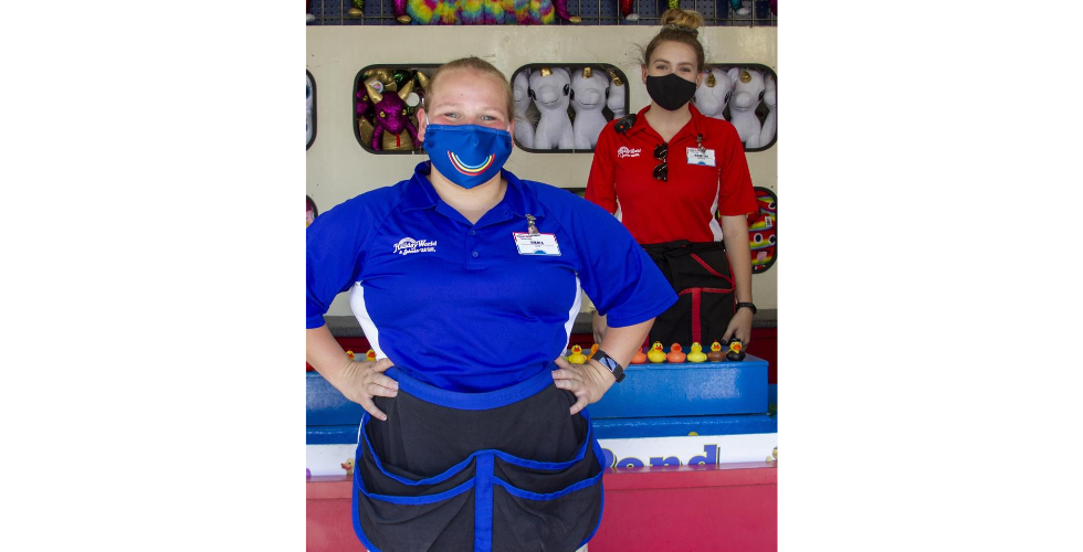 holiday world, team members wearing face masks
