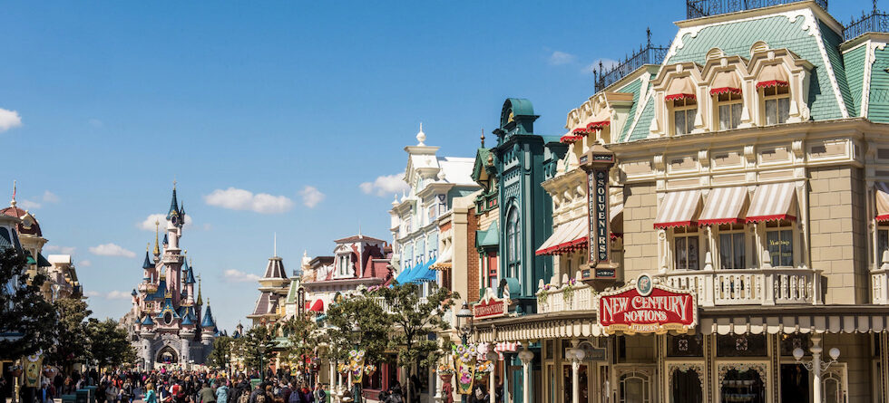 Close-up on the movies behind Main Street, U.S.A. at Disneyland Paris