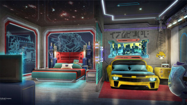 Transformers themed guest room at Imagine Resorts & Spa waterpark resort