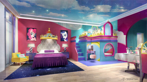 My Little Pony themed guest room at Imagine Resorts & Spa waterpark resort