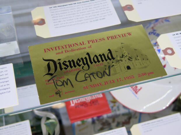Disneyland Auction, Van Eaton Galleries, Disneyland ID Badge, Disneyland construction photos, Disneyland VIP press ticket