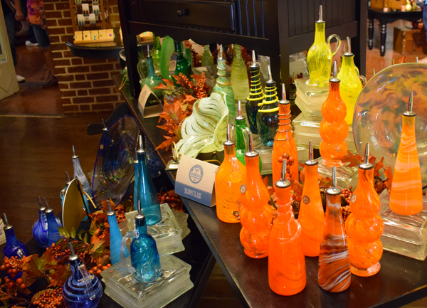 hand-blown glass on display