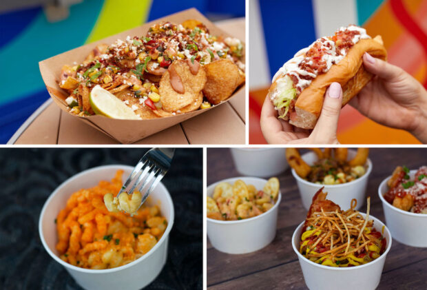 Disney Springs, Weekday Dining Offer, Hot Diggity DogFood Truck, Mac & Cheese Food Truck Santa Fe loaded house-made chips, Santa Fe hot dog, six-cheese crunchi macaroni and cheese