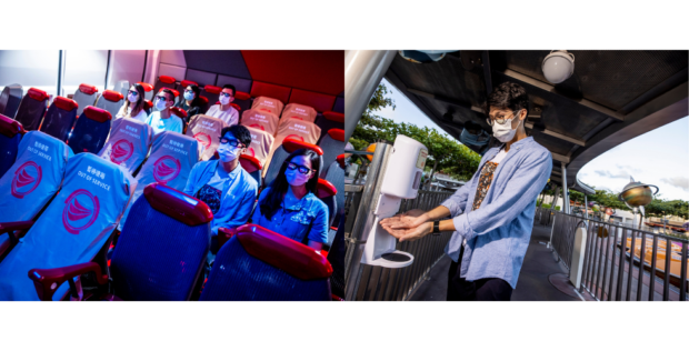 (From left to right) New seating arrangements and sanitizing stations at the park. Photo courtesy of Hong Kong Disneyland.