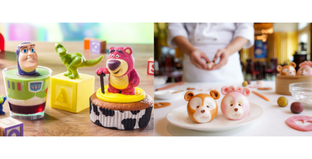 (From left to right) New Toy Story anniversary desserts and Crystal Lotus' dim sum class. Photo courtesy of Hong Kong Disneyland.
