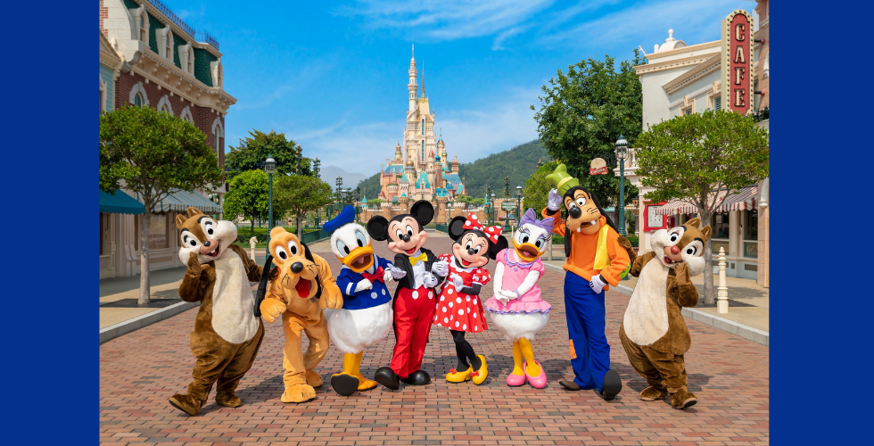 Mickey and friends greet guests in front of The Castle of Magical Dreams. Photo courtesy of Hong Kong Disneyland.