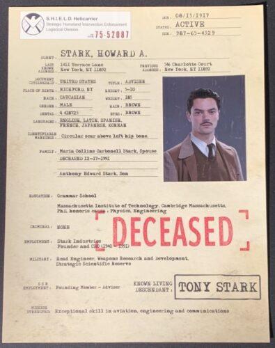 Hanlin's Hollywood Memorbilia Auction, Avengers, Howard Stark, Tony Stark, Agent Carter