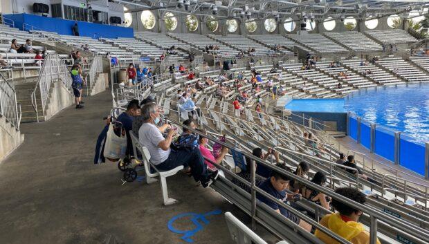 Almost empty Shamu Stadium at SeaWorld.