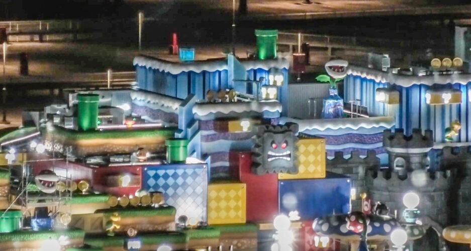 Nighttime in Super Nintendo Land at Universal Studios Japan.