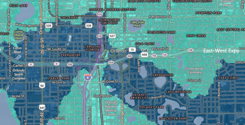 AT&T coverage map for Orlando.