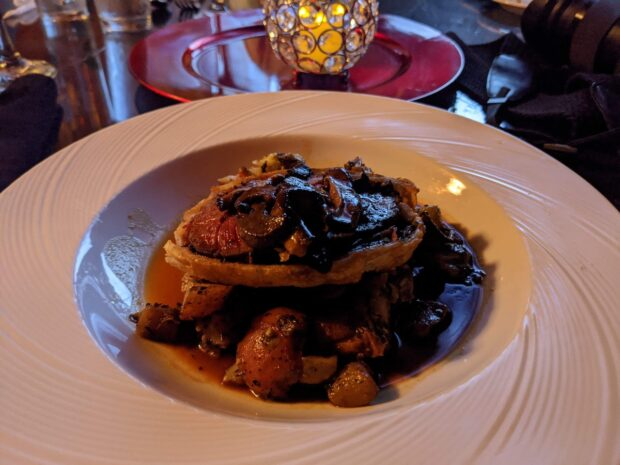 portabello mushroom dinner food at dark seance.