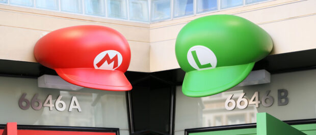 Mario and Luigi's caps outside of Mario Store.