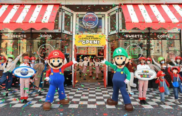 Grand opening of the Mario Cafe and Store.