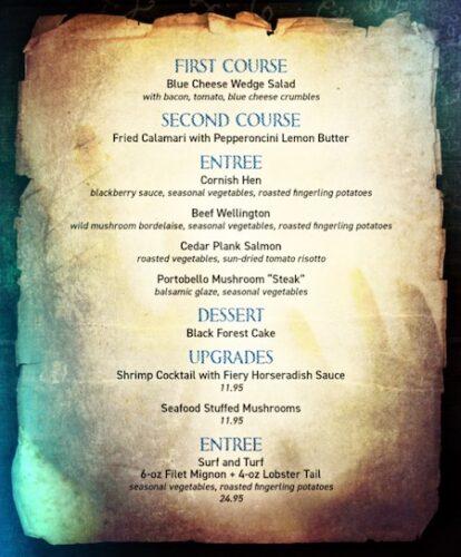 dark seance menu