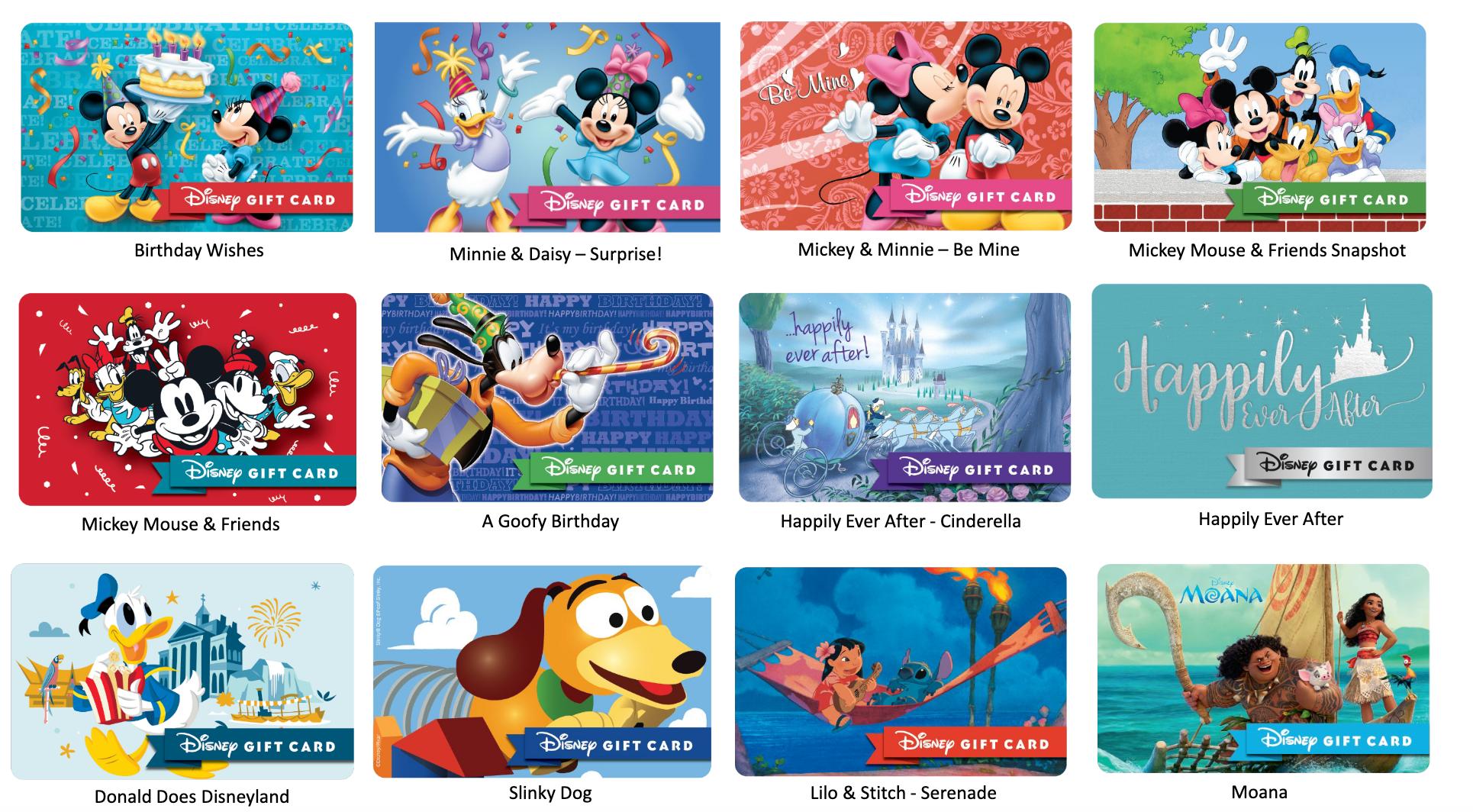 ShopDisney, Disney Gift Cards, Mickey and pals, Lilo, Moana