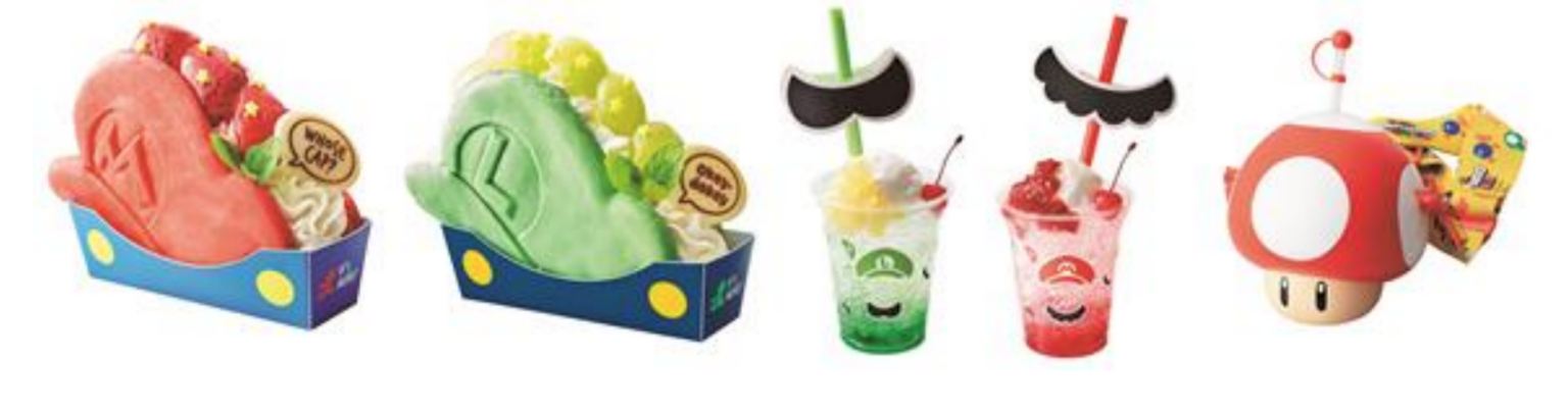 Media photos of the speciality Mario themed food and drink options.