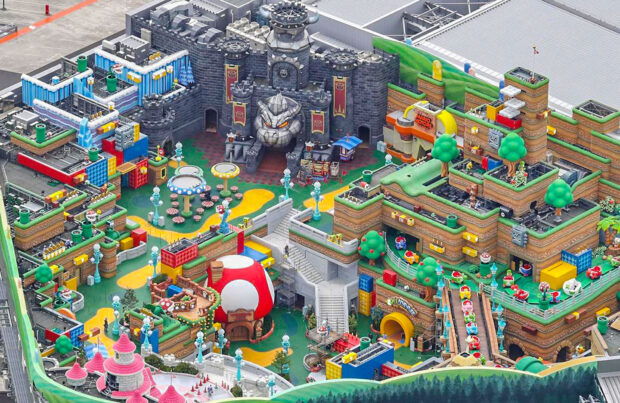 Aerial look at bowser's castle
