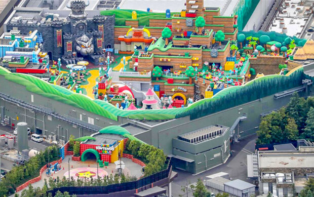 Secondary look at Super Nintendo World at Universal Studios Japan from above.