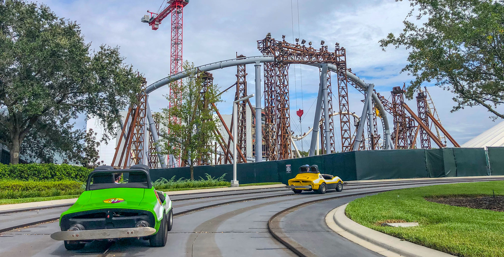 Tron Lightcycle / Run construction seen from Tomorrowland Speedway