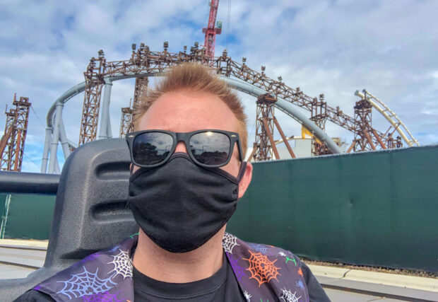 Coaster selfie in front of TRON Lightcycle / Run.