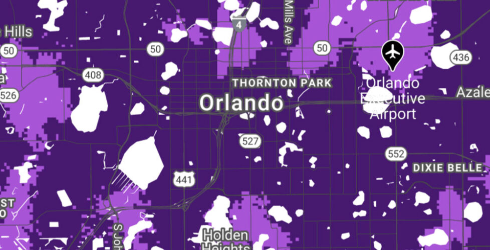 T-Mobile coverage map for Orlando.