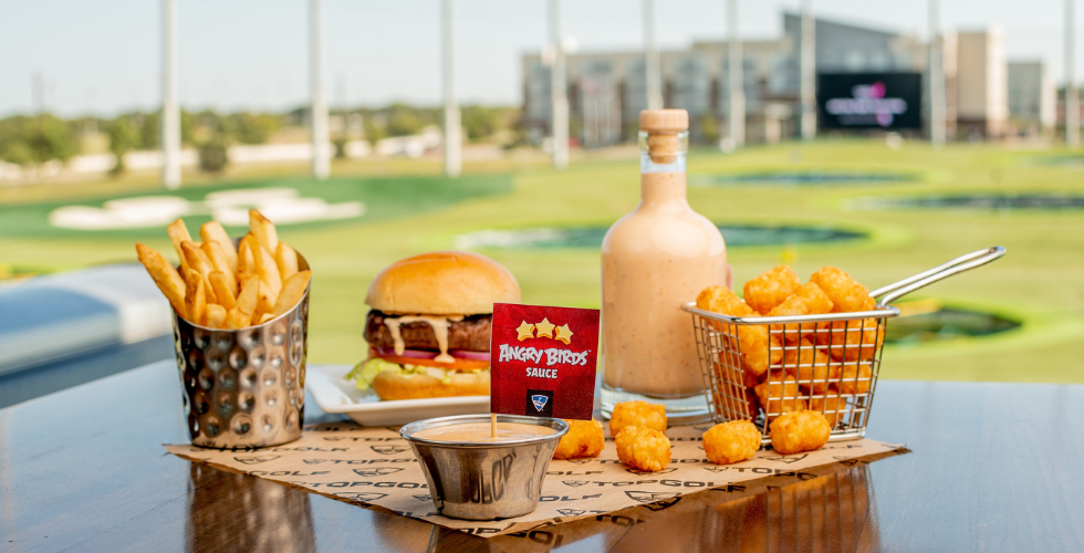 topgolf angry birds game and spicy sauce