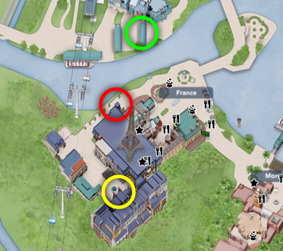 Disney Parks map of France Pavilion at Epcot