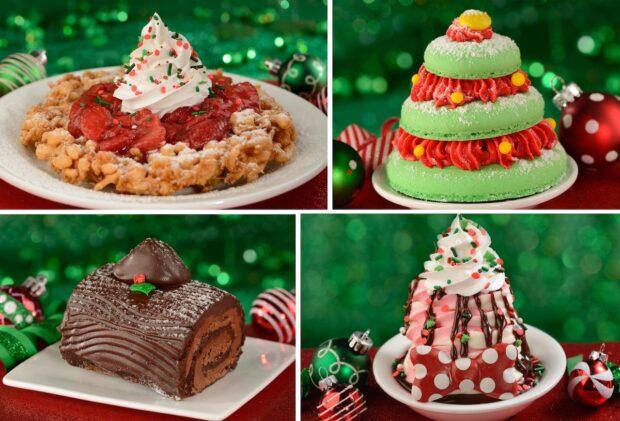 Magic Kingdom Holiday Foods, Fa La La La Funnel Cake, Belle's Enchanted Christmas Tree, Yule Tide Wishes, Minnie's Merry Cherry Sundae