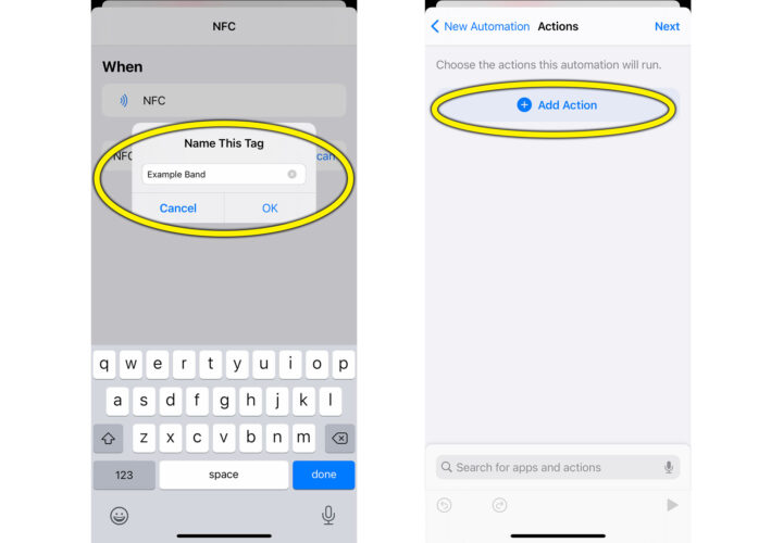 Naming an NFC tag and adding an Action.