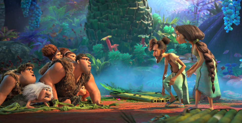 The Croods (left) meet Phil and Hope Betterman (right.)