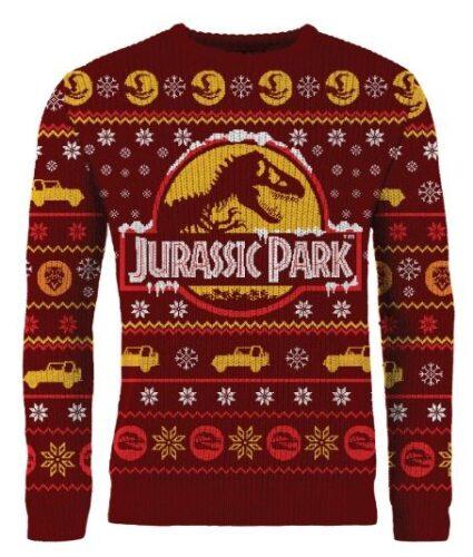 new merchoid jurassic park ugly xmas sweater
