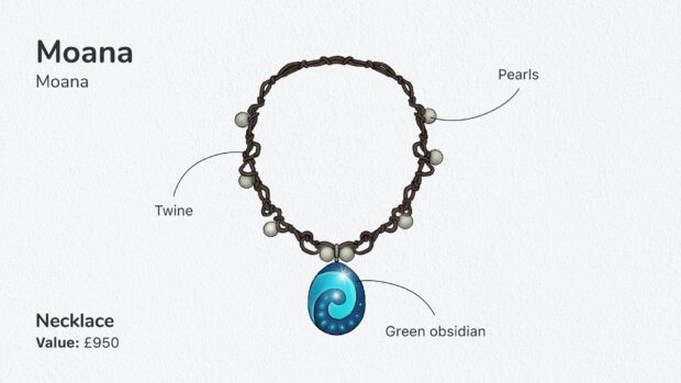 Moana's necklace. Photo courtesy of www.money.co.uk.