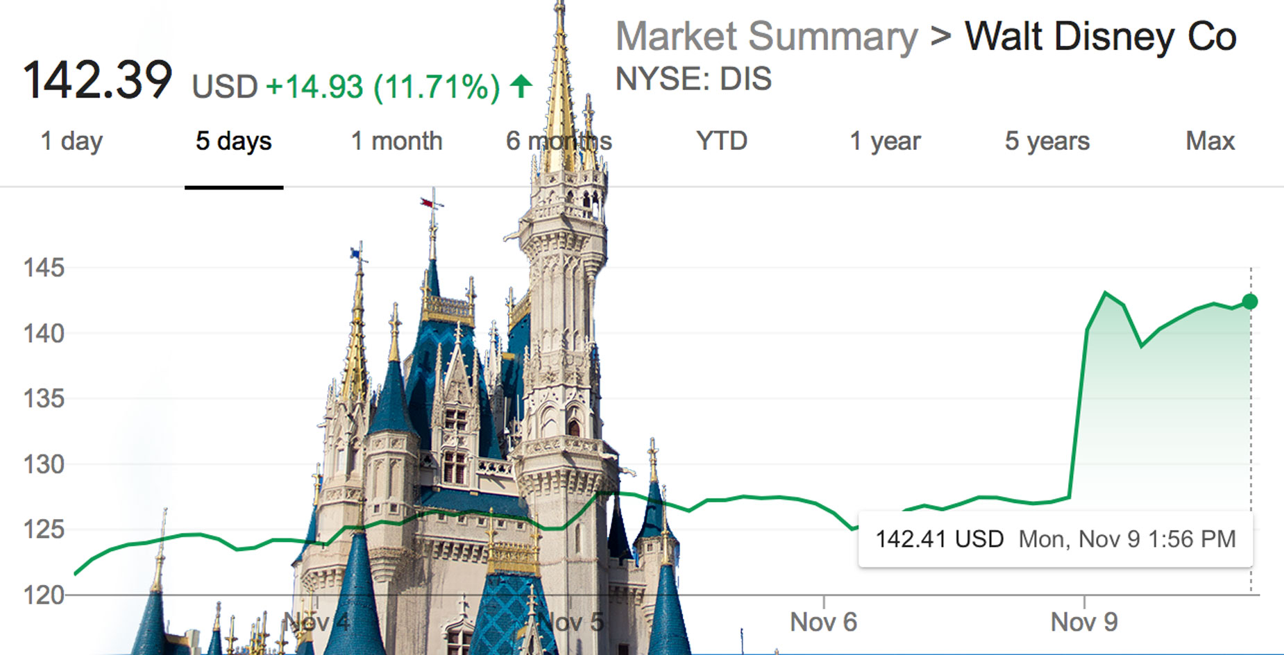 Cinderella Castle and DIS stock