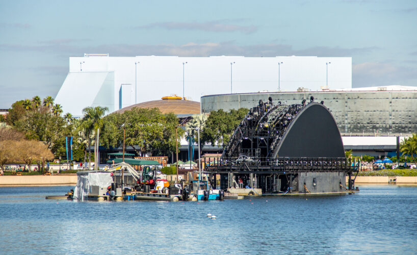 Upcoming projects at Epcot, firework barge, PLAY! Pavilion, and Cosmic Rewind.