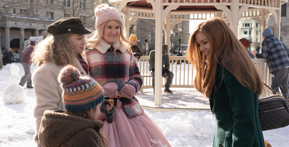 "(From left to right) Willa Skye (Mia), Jillian Spaeder (Jane), Jillian Bell (Eleanor) and Isla Fisher (Mackenzie) on the set of ""Godmothered""."