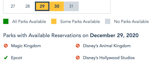 Disney Park pass reservation availability.